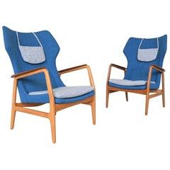 Aksel Bender Madsen Blue Karen Wingback Chairs Bovenkamp, Netherlands, 1960