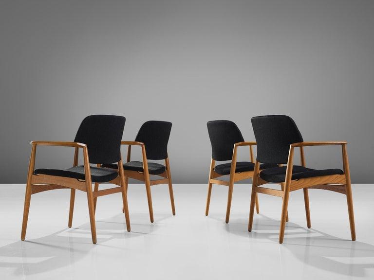 Scandinavian Modern Aksel Bender Madsen Oak Armchairs for Fritz Hansen For Sale