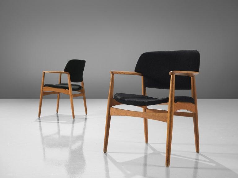 Aksel Bender Madsen Oak Armchairs for Fritz Hansen In Good Condition For Sale In Waalwijk, NL