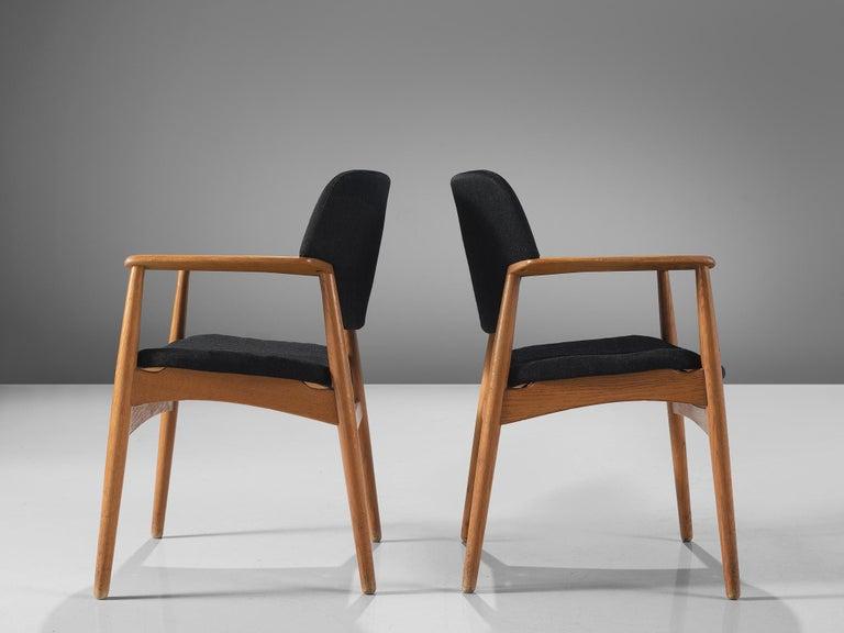 20th Century Aksel Bender Madsen Oak Armchairs for Fritz Hansen For Sale