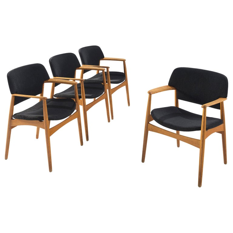 Aksel Bender Madsen Oak Armchairs for Fritz Hansen For Sale