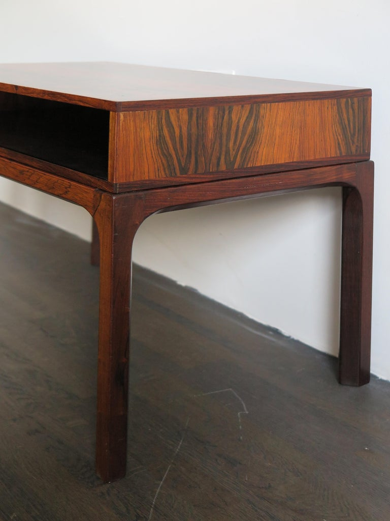 Veneer Aksel Kjersgaard Scandinavian Dark Wood Bedside Table for Odder Furniture, 1960s For Sale