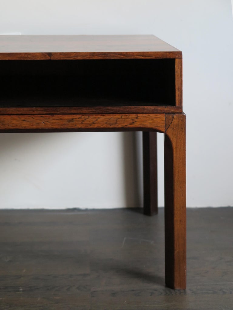Aksel Kjersgaard Scandinavian Dark Wood Bedside Table for Odder Furniture, 1960s In Good Condition For Sale In Modena, IT