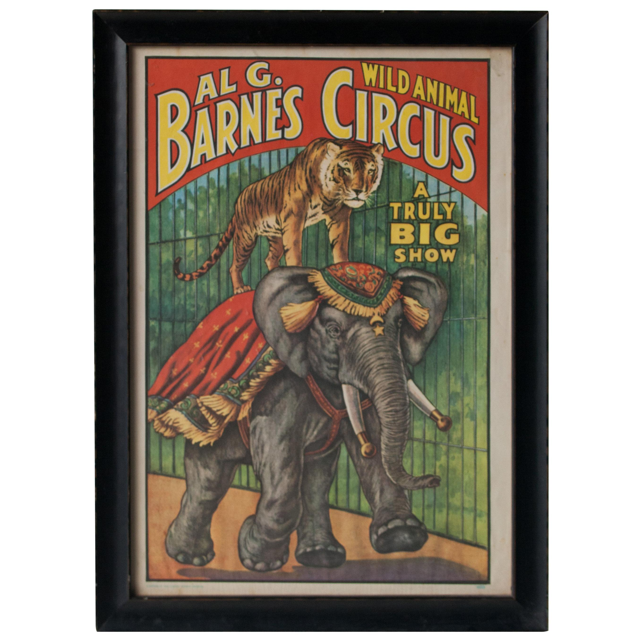Al G. Barnes Animal Show Circus Original Poster Framed, United States, 1895