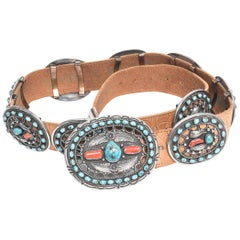 Al Joe Navajo Native American Coral Turquoise Sterling Brown Leather Concho Belt