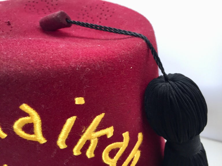 AL Malaikah Vintage Iconic Masonic Shriner Burgundy Wool Fez Hat