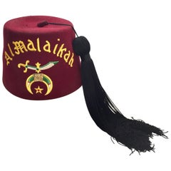 AL Malaikah Vintage Iconic Masonic Shriner Burgundy Wool Fez Hat