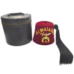 AL Malaikah Vintage Iconic Masonic Shriner Burgundy Wool Fez Hat in Original Box