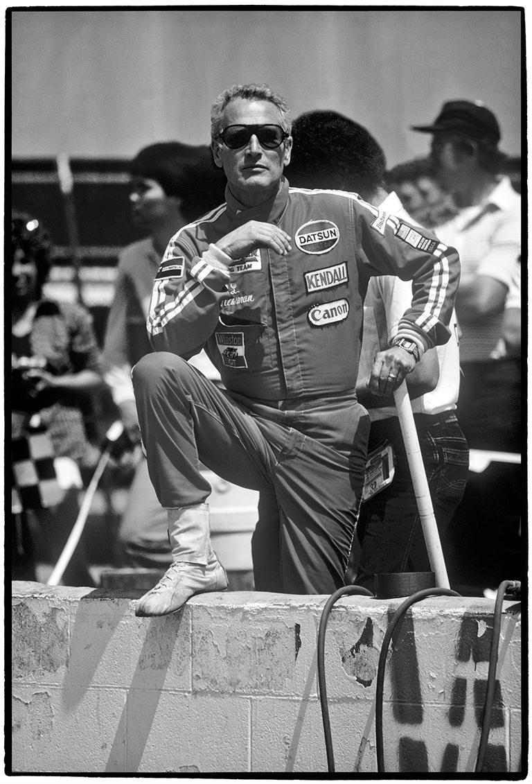 Al Satterwhite Black and White Photograph - Paul Newman, Riverside Raceway, Riverside, CA