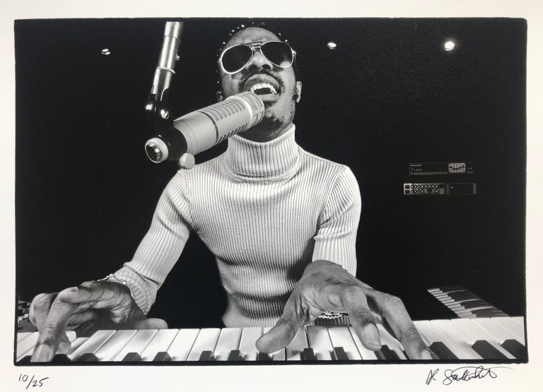 Al Satterwhite Black and White Photograph - Stevie Wonder Rehearsing