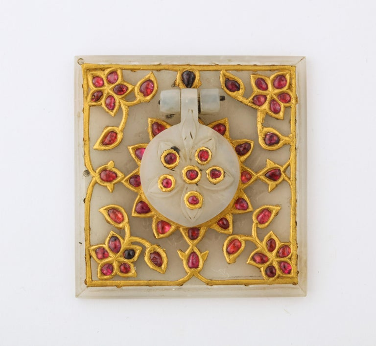 Islamic Al Thani Collection, a Mughal Indian Square White Jade Inkwell Cover, circa 1800 For Sale