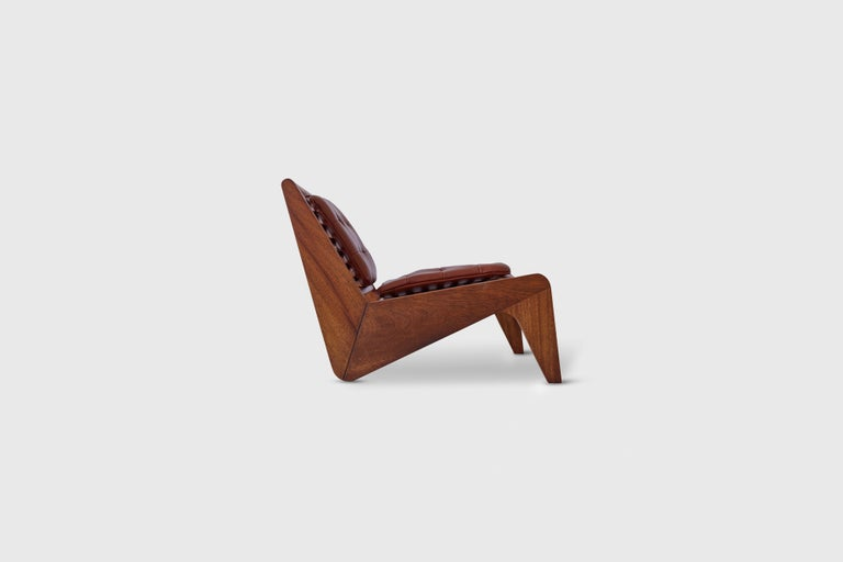 Ala chair with cushions. Mahogany with tufted leather pads Designer - Alexander Diaz Anderson   Dimensions - Height: 27.04
