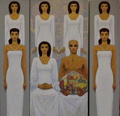 """Untitled 14"" Oil painting (triptych) 79 ""x 79"" inch by Alaa Abu Elhamd"
