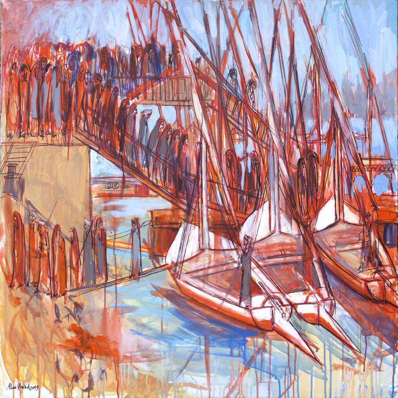 """Flucas"" Acrylic Painting 39"" x 39"" inch by Alaa Awad"