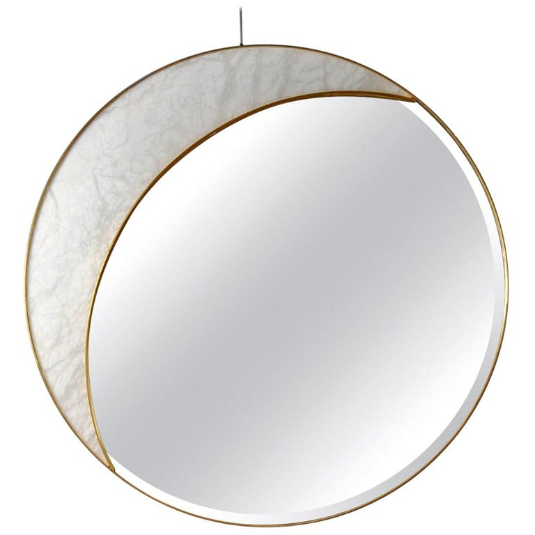 Alabaster and brass mirror by studio Glustin, limited edition, half circle shape.