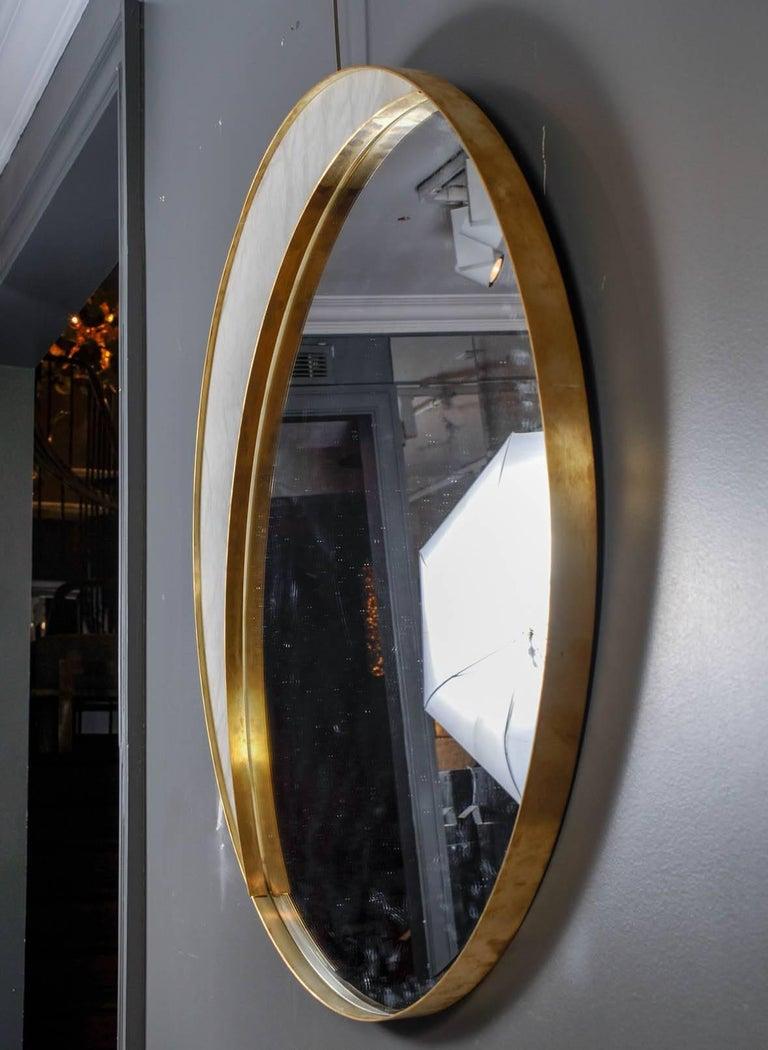 Alabaster and Brass Mirror by Studio Glustin In Excellent Condition For Sale In Saint-Ouen (PARIS), FR