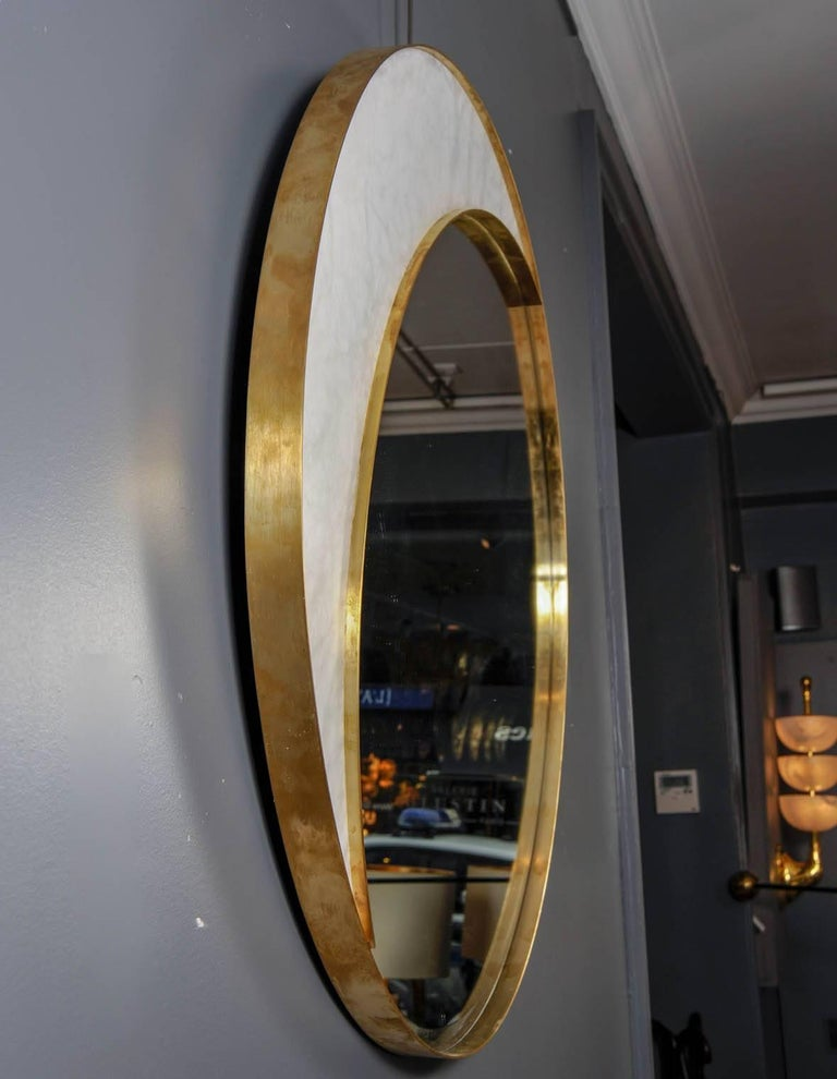 Contemporary Alabaster and Brass Mirror by Studio Glustin For Sale