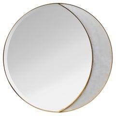 Alabaster and Brass Mirror by Studio Glustin