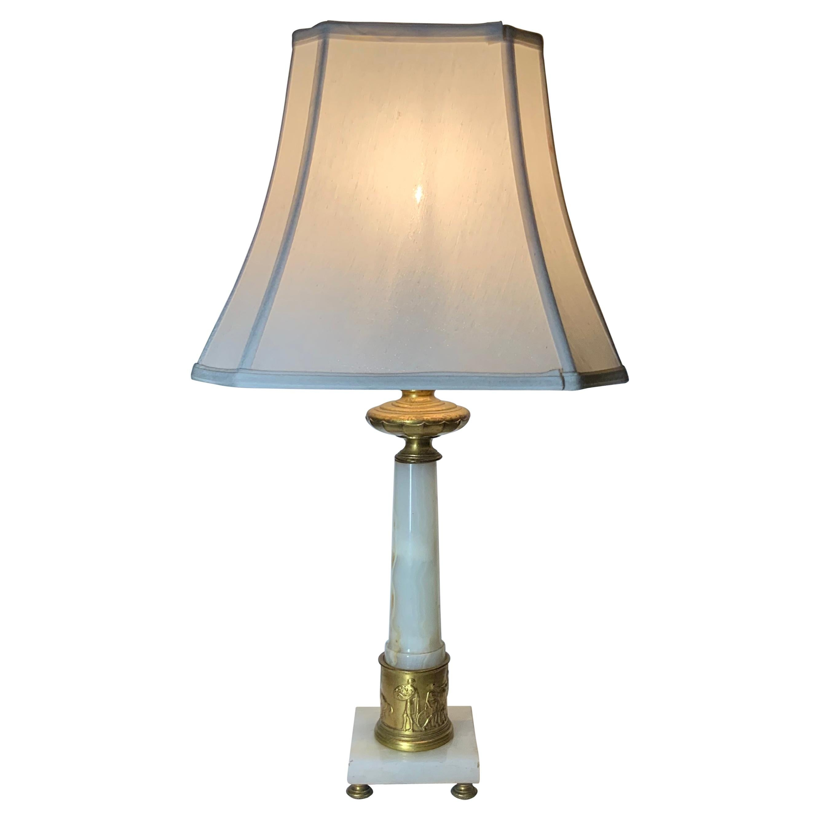 Alabaster and Bronze Neoclassical Table Lamp