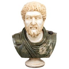 Alabaster and Green Marble Roman Figure Bust