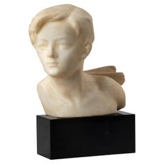 Alabaster and Marble Art Deco Sculpture of a Boy by Affortunato Gory