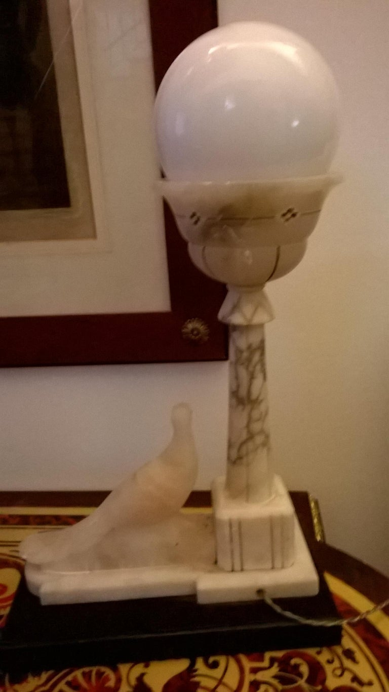 Empire Alabaster and Marble Table Lamp, Italy, 1930 For Sale