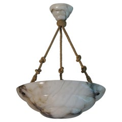 Alabaster Art Deco Pendant / Chandelier with 3 Layered Alabaster Shade & Canopy