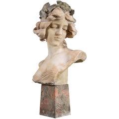 Alabaster Art Nouveau Bust of a Women, circa 1890
