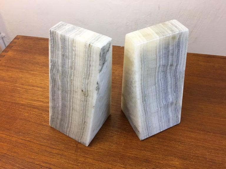 Mid-Century Modern Alabaster Bookends For Sale