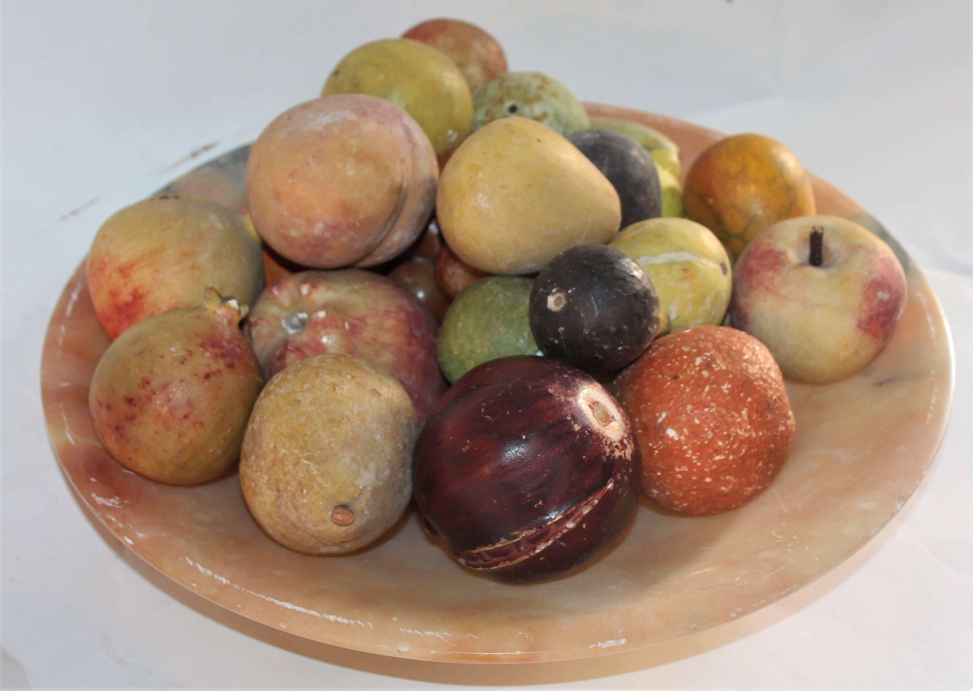 Alabaster Bowl with 25 Pieces Stone Fruit Collection at 1stdibs