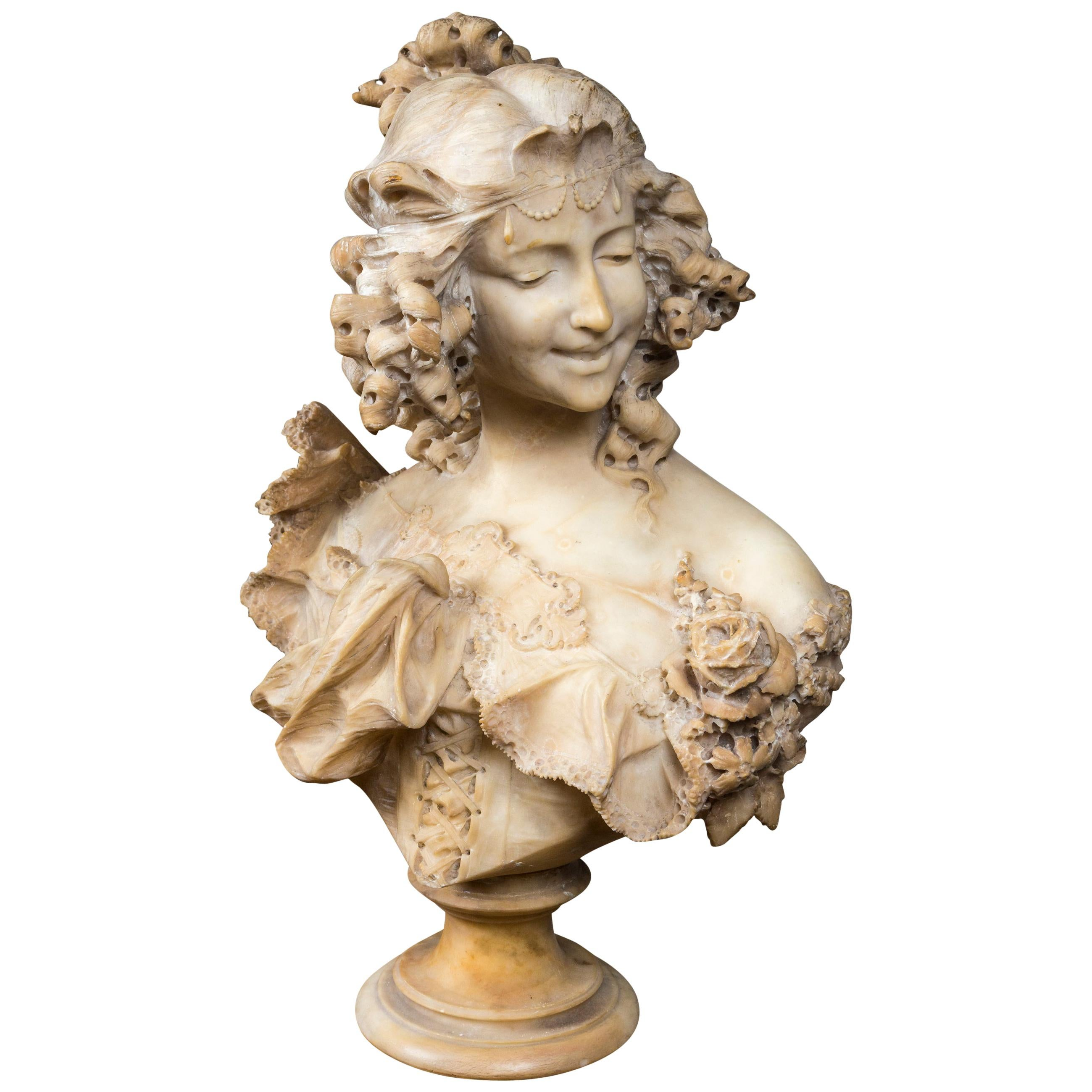 Alabaster Bust of a Smiling Young Lady