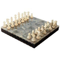 Alabaster Chess and Checkers Set