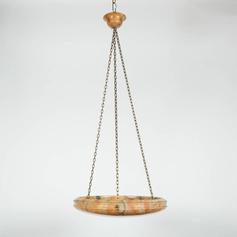 An early 20th century alabaster hanging dish light with matching alabaster ceiling rose.