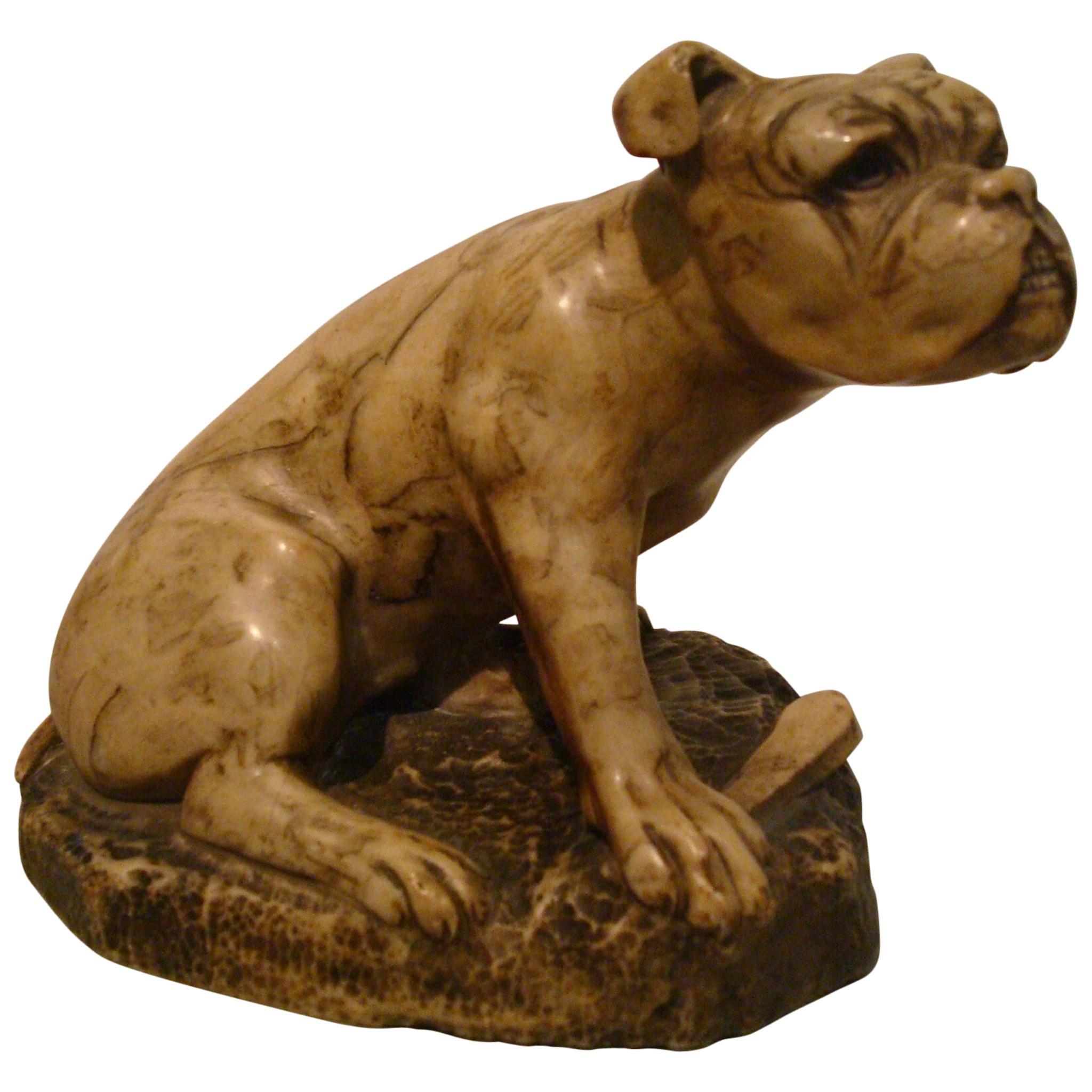 Alabaster English Bulldog Sculpture, 1900s