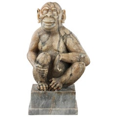 Alabaster Figure of a Monkey