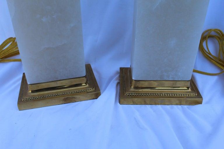 Art Deco Alabaster Lamps, Solid Blocks, Hi-Polished Brass For Sale