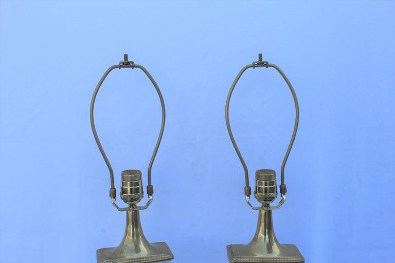American Alabaster Lamps, Solid Blocks, Hi-Polished Brass For Sale