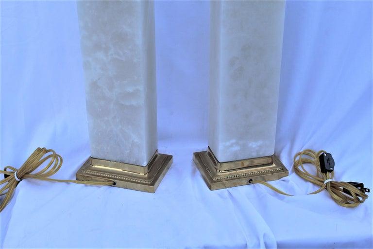 Carved Alabaster Lamps, Solid Blocks, Hi-Polished Brass For Sale