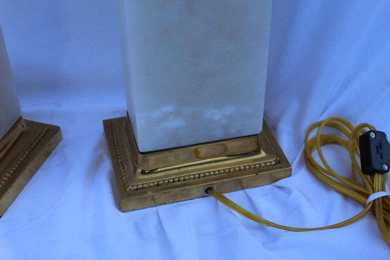 Alabaster Lamps, Solid Blocks, Hi-Polished Brass In Good Condition For Sale In Los Angeles, CA
