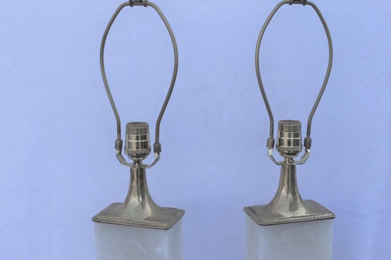 Contemporary Alabaster Lamps, Solid Blocks, Hi-Polished Brass For Sale