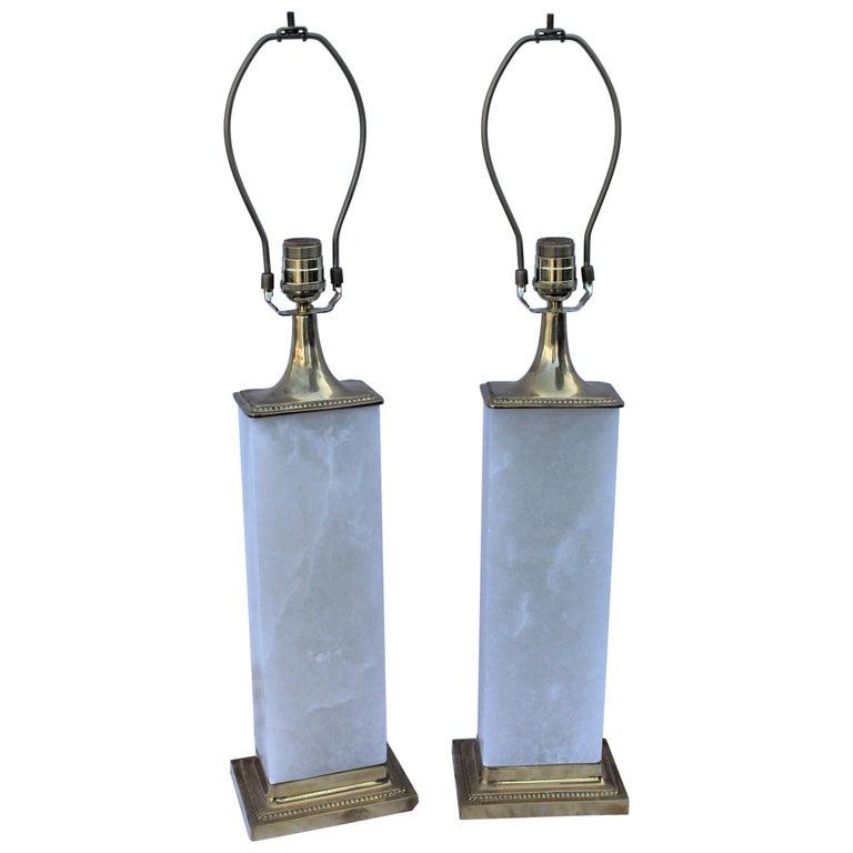 Alabaster Lamps, Solid Blocks, Hi-Polished Brass For Sale