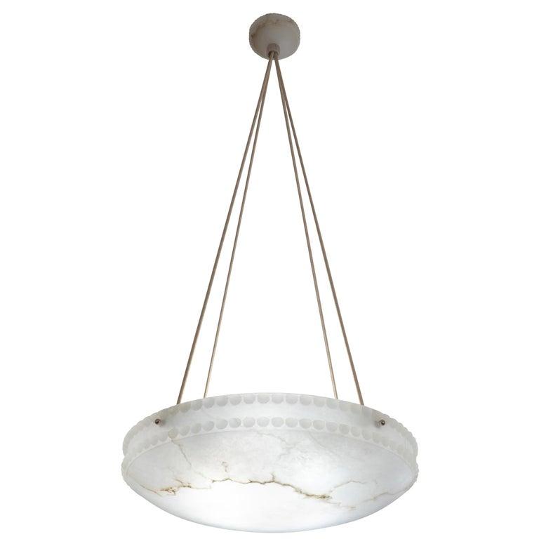 Art Nouveau Alabaster Light Fixture with Pearl Detail For Sale