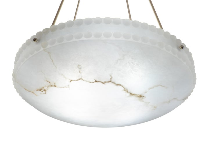 Swedish Alabaster Light Fixture with Pearl Detail For Sale