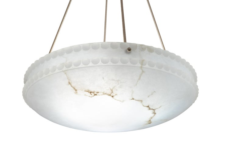 Carved Alabaster Light Fixture with Pearl Detail For Sale
