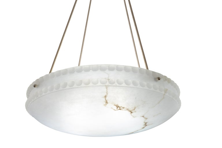 Alabaster Light Fixture with Pearl Detail In Good Condition For Sale In New York, NY