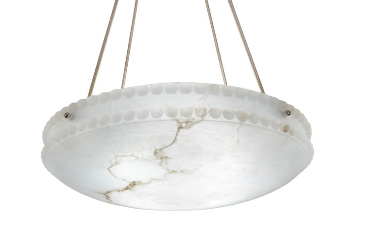Early 20th Century Alabaster Light Fixture with Pearl Detail For Sale