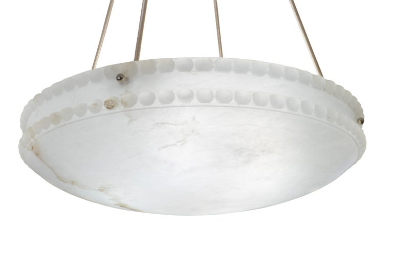Alabaster Light Fixture with Pearl Detail For Sale 1