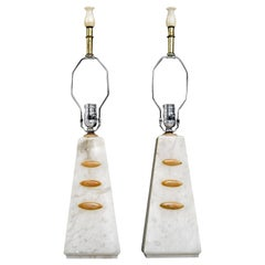 Alabaster Pyramid Table Lamps and Finials, Art Deco to Modern Transitional Style