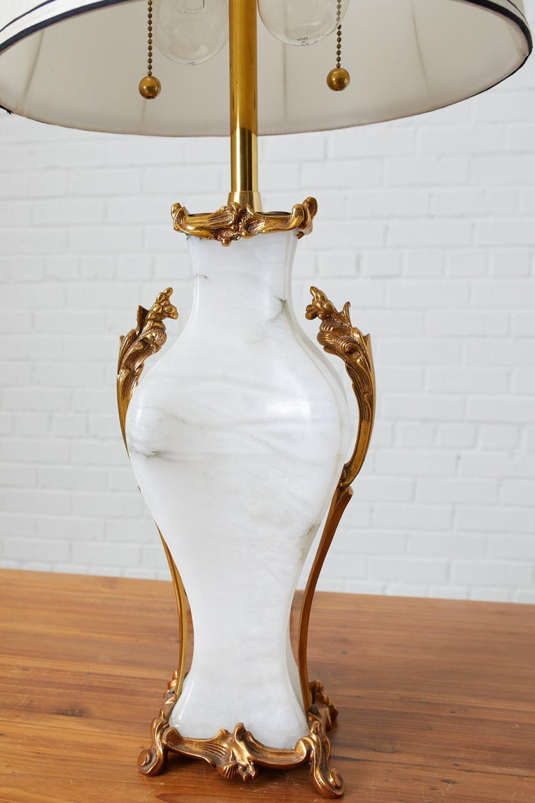 Alabaster Rose Gold Table Lamp by Marbro 2