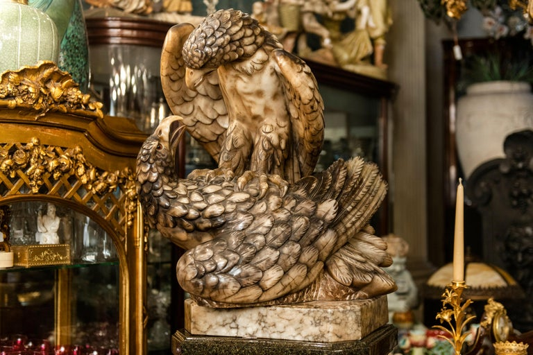 Alabaster Sculpture Signed C. Olivieri with Marble Pedestal, Italy, circa 1900 For Sale 2